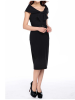 Bow Collar Pencil Dress Black