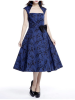 Belted Pleat Dress Blue