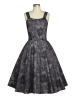 Retro Schulter Kleid Purple 46
